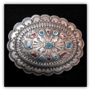 Western Concho Belt Buckle w/Turquoise Inlay