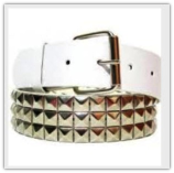White Punk Pyramid Studded Leather Belt