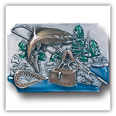 Fish w/Gear Background Belt Buckle