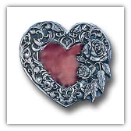 Heart w/Rose and Leaf Border Belt Buckle