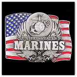 U.S. Marines w/Flag Belt Buckle