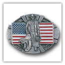 American Cowboy & Flag Belt Buckle