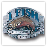 I Fish Therefore I Am Belt Buckle