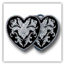 Double Heart Diamond Cut Belt Buckle