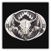 Buffalo Skull w/Bison Diamond Cut Belt Buckle