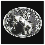 Bucking Bronco Diamond Cut Belt Buckle