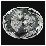 Two Wolves Diamond Cut Belt Buckle