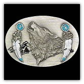 Howling Wolf w/Feathers Belt Buckle