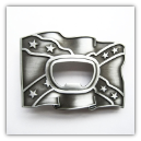 Confederate Flag Bottle Opener Belt Buckle -            Antique Silver Finish