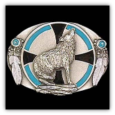 Southwest Wolf Belt Buckle