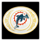 Miami Dolphins - Gold and Silver Toned NFL Logo Buckle