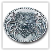 Grizzly Head Diamond Cut Belt Buckle