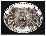 Grizzly w/Claws Diamond Cut Belt Buckle