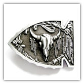 Arrowhead with Buffalo Skull Belt Buckle - Non Enamel Antique Silver