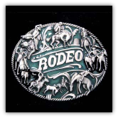 Rodeo - Green Background Belt Buckle