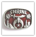 Red Shrine Masonic with Crescent Moon Belt Buckle