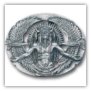 Indian Great Spirit Diamond Cut & Cut-Out Belt Buckle