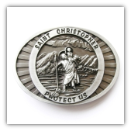 St. Christopher Protect Us Belt Buckle