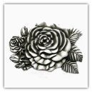 Western Rose Belt Buckle - Antique Silver