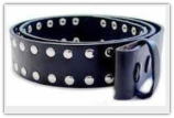 Black with Front Rivets Leather Belt