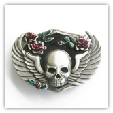 Winged Skull with Roses Belt Buckle