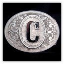 Western Monogram Initial 'C' Belt Buckle