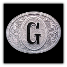Western Monogram Initial 'G' Belt Buckle