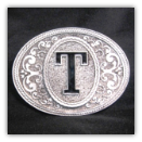 Western Monogram Initial 'T' Belt Buckle