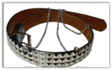 Studded Black Leather Belt with Chains