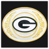 Green Bay Packers - Gold and Silver Toned NFL Logo Belt Buckle